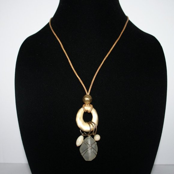 """Gold and glass necklace 32"""""""